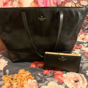 Kate Spade Black leather tote and wallet